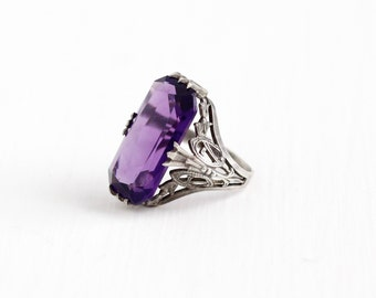 Sale - Vintage Art Deco Sterling Silver Simulated Amethyst Ring - Antique 1920s Filigree Purple Glass Stone Rectangular Statement Jewelry
