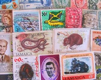 Jamaican Me Crazy 50 Vintage Jamaica Postage Stamps Rastafari Kingston Patois Caribbean Honeymoon Travel Scrapbooking Worldwide Philately