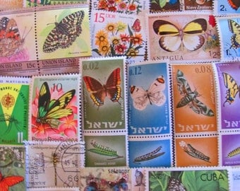 Whimsical Wings 50 Premium Vintage Insects Postage Stamps Bugs Entomology Fly Moth Bee Butterfly Dragonfly Beetle Ant Invertebrate Philately