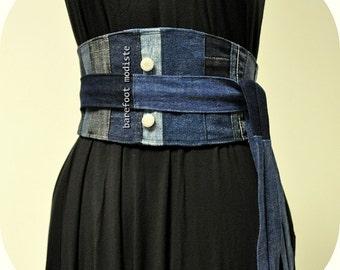 Rustic Denim Patchwork Obi Belt, One of a Kind art to wear, Unique Reclaimed Recycled Jeans Belt, Corset tie belt, Barefoot Modiste Handmade