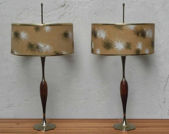 Pair Laurel Sculpted Table Lamps - Walnut & Cast Brass with Large Original Barrel Shades