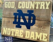 Notre Dame sign Fighting Irish painted distressed barnwood reclaimed wood shelf decor art