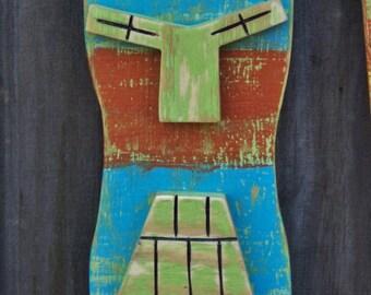 BOT, Tiki Man, Tiki Mask, Wall Hanging, Wood Sculpture, Lake House