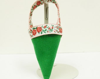 Christmas Cone Stocking, Felt and Ribbon Ornament. Baby or Animal Stocking