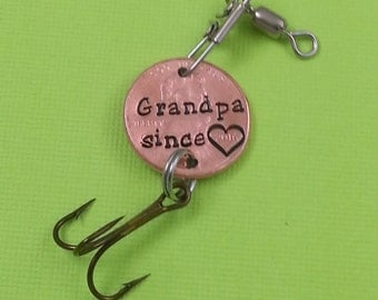 Grandpa Stamped Penny Fishing Lure - Gift for Him - Daughter Gift For - Stamped Penny - Son Gift For - New Grandpa - Best Grandpa - Fishing