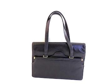 GRETA Textured Leather Black Bag 1960s Luxury