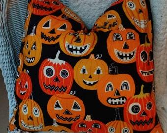 SALE ONE LEFT 18X18 Halloween Pillow Cover, Halloween Decor,  Orange and Black Pillow, Pillow, Decorative  Pillows, Throw Pillow, Decorative