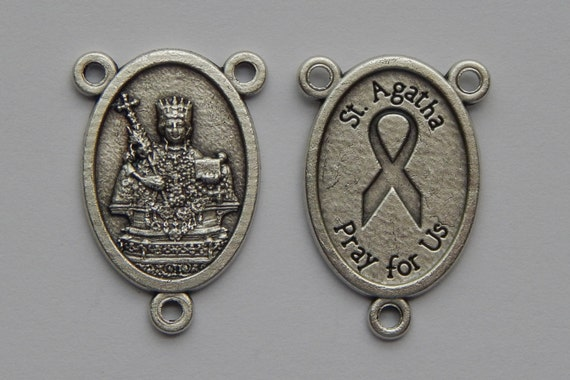 5 Rosary Center Piece Findings - 25mm Long, St. Agatha, Pink Ribbon, Silver Color Oxidized Metal, Rosary Center, Religious Beads, RC301