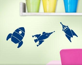 Spaceship Wall Decals - Rocket Nursery - Mini Wall Decals - Retro Outer Space Wall Decals