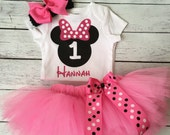 First Birthday Outfit Girl. Custom Pink Minnie Mouse Tutu Set. Minnie Mouse Birthday. Baby Girl Baby Tutu. Tutu Dress. First Birthday Outfit