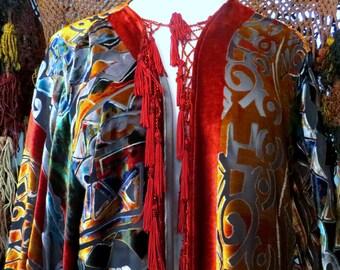 Bohemian Gypsy Fringed and Beaded  Picasso Look Kimono Jacket