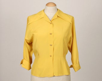 vintage 1940s rayon blouse • mustard yellow with flared cuffs and tailored waist