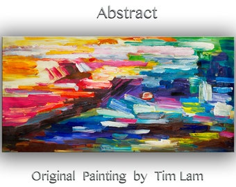 "Huge art Original Abstract Painting Wall Art Oil Painting 48"" Canvas Wall Decor Original Modern Home Deco, Wall Hanging by Tim Lam"