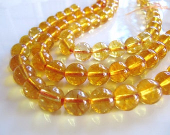 Citrine Beads in Golden Yellow, 9mm - 10mm, Round, Smooth, Translucent Gemstone Beads, Half Strand, 8 Inches, Approx 19 Beads