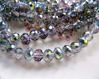 6mm GLASS Beads in Silver, Violet, Green, 6mm x 4mm, Faceted, Plated,  Rondelle Abacus, 1 Strand 17 Inches, Approx 95 Pieces