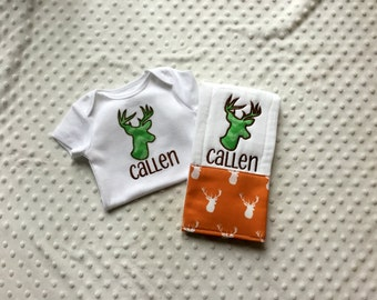 Baby Boy Personalized Gift Set - Bodysuit and Burp Cloth, Deer Silhouette
