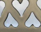 RESERVED4U KATHLEEN:  French Country Antique Graniteware Enamelware Onion Keeper, Heart Cutouts