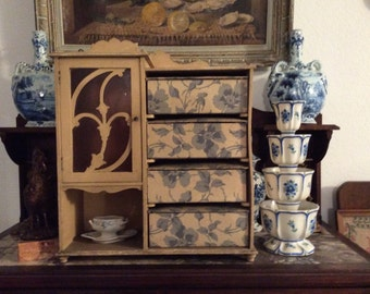 Vintage Antique French Cabinet, Blue Floral Fabric