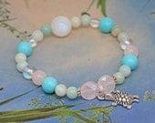 Fertility Bracelet / Hormone Balance / Bracelet for Conception  - Turtle Fertlity Gemstone Bracelet / Moonstone, Turquoise, Rose Quartz,