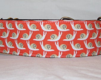 Mini Snails Martingale Dog Collar - 1.5 or 2 Inch - fun silly animal shell orange white slow