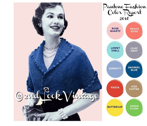 Vintage Knitting Pattern 1950s Pom Pom Cropped Bolero Digital Download PDF