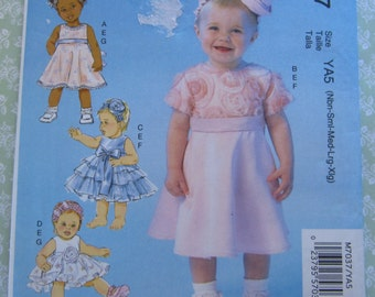 Baby Girls Dresses, Panties and Headbands Sizes NB S M L XL Special Occasion McCalls Pattern M7037 UNCUT