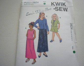 Pattern Girls Teens Skirt Top and Cardigan Sizes 8 to 14 Kwik Sew 2824