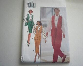 Pattern Vintage Ladies Pants Skirt Blouse Vest Scarf Sizes 12 to 16 Butterick V-3154 A