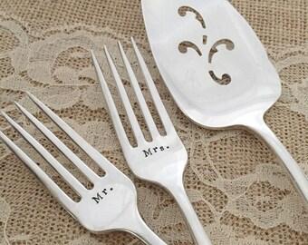 """Mr. & Mrs. vintage forks and cake server set wedding  """"silver flower"""", new hand stamped"""