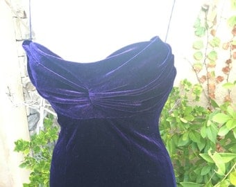 Vintage 1980s CASADEI purple sexy spaghetti straps ruched fit amd flare formal cocktail dress size S