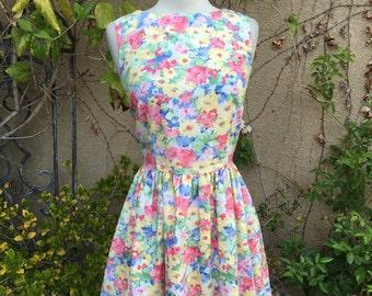 1980s spring floral sleeveless mini skirt dress size S