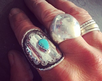 Teardrop Turquoise Saddle Ring