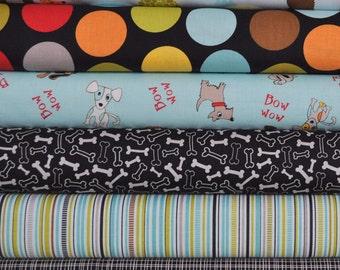 Puppy Park Blue/Black 6 Fat Quarters Bundle by Bella Blvd. for Riley Blake, 1 1/2 yards total