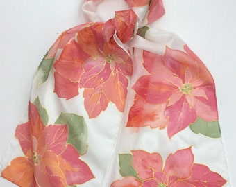 Poinsettia hand painted silk scarf size 25 x 150 cm,   Silk scarves.