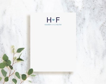 Personalized Note Card Set // Initials // Couples Stationery Set