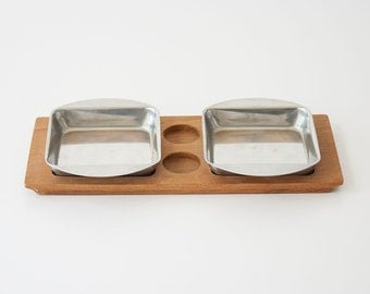Vintage Danish Modern Teak Condiment Tray & Stainless Dishes