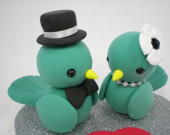 Custom Love Birds Wedding Cake Topper--Blue Birds Love with Heart Base - SPECIAL  FOR 2017