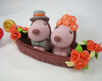 Customise Wedding Cake Topper--Gondola Dogs Love for Italy Themed Wedding