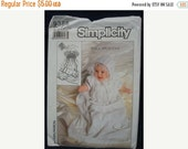 SALE 1980s Infants Christening Baptism Gown Slip Hat Jessica McClintock Simplicity 9386 Uncut FF Infants Sewing Pattern Size Newborn to One