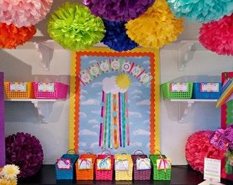 7 Tissue paper pom poms. Pom Pom. Tissue paper Poms. Hanging flower, Baby shower. Bridal shower. Wedding. (choose colors)