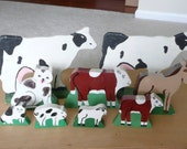 NINE Amish Made Hand Painted Wooden Toy Farm Animals