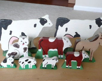 Amish Made Hand Painted Wooden Toy Farm Animals