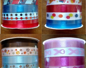 Singer Ribbon with fun prints 8-12 ft total