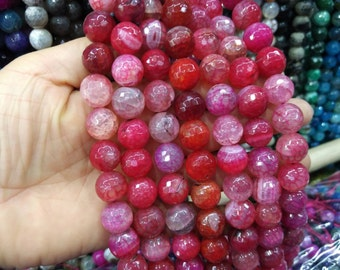 2 str -Pink Red Agate 14mm Round ball beads -28pcs/strand