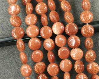 Synthetic Brown Gold Sand Stone 10mm round coin beads- 38pcs/strand
