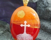 Dichroic Fused Glass Pendant Necklace Cross with Roots Ready to Ship #2899
