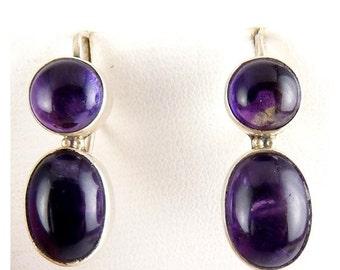 Sterling Silver & Amethyst Double Stone Earrings - Pierced