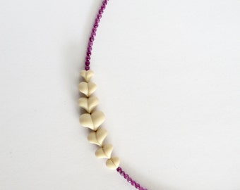 Polymer clay arrow necklace with amethyst gemstones