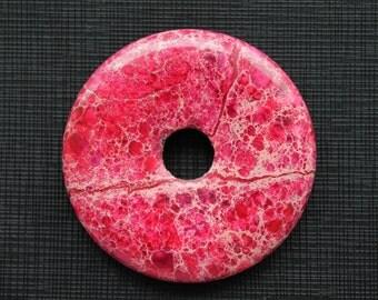 Magenta Red Variscite Sea Sediment Jasper Donut Pendant 50mm