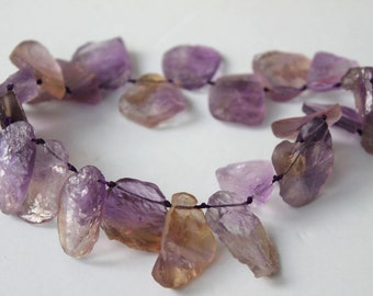 Top Drilled Rough Ametrine Rock Slab Beads 16 Inch Strand